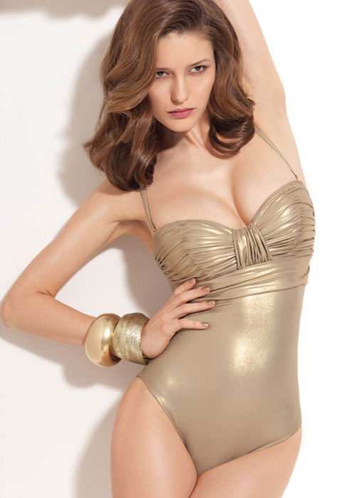 Gold coloured swimsuit with straps and rouching