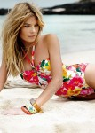 Floral flowers topical swimsuit strawberry colour