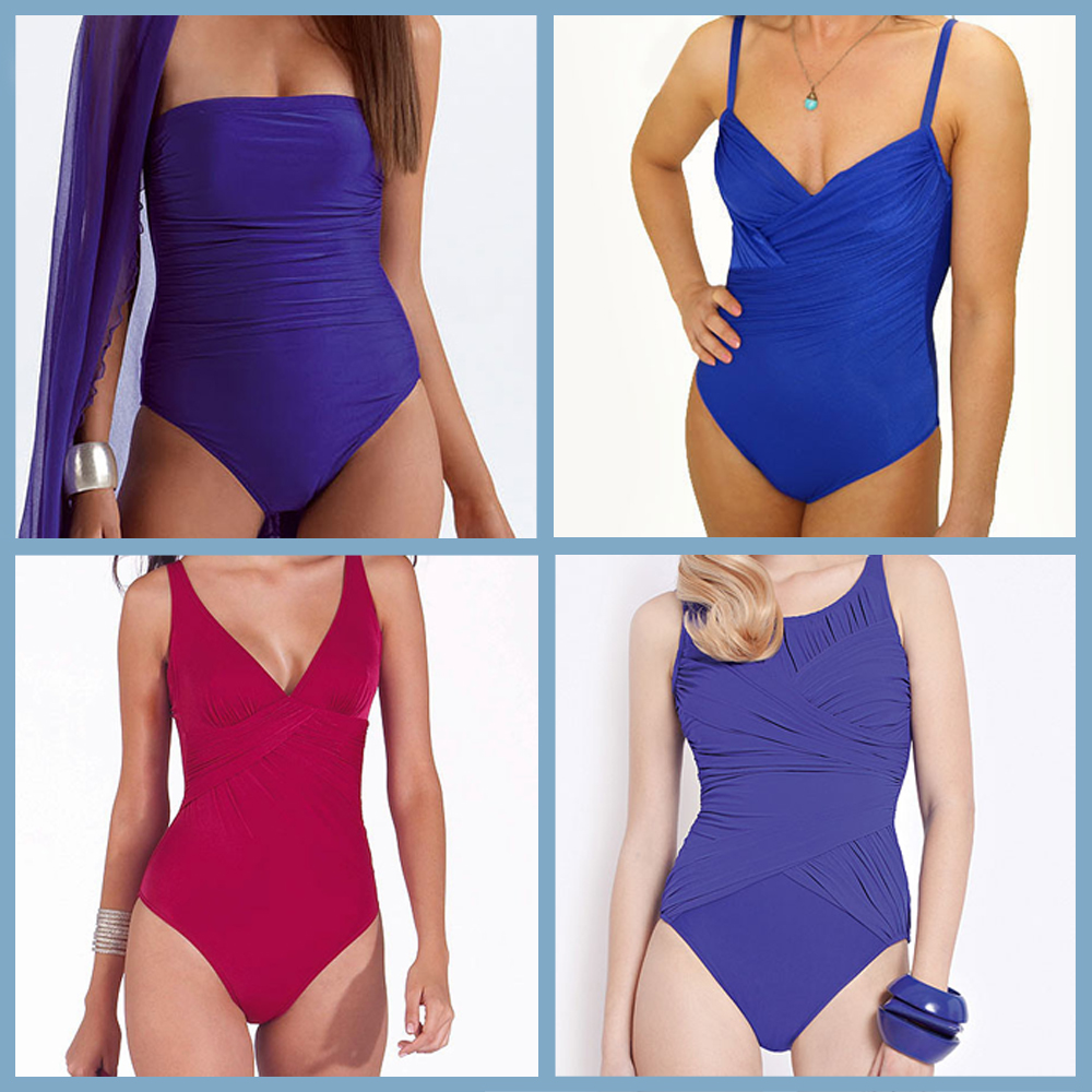 Rouched bikini blue