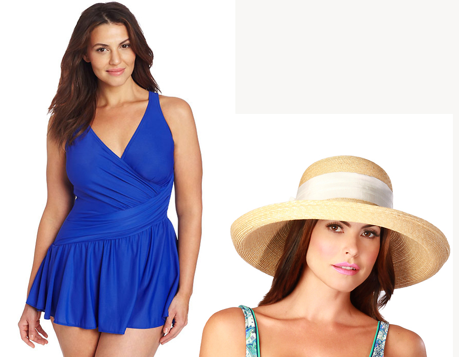Miraclesuit Plus Blue Aurora Swim Dress + Gottex Vivienne hat