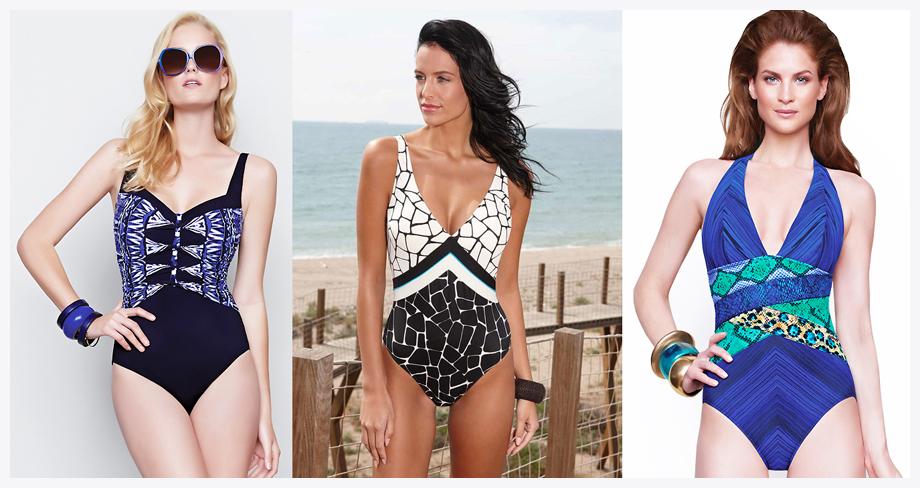 Rectangular body shape swimwear - angled strapes