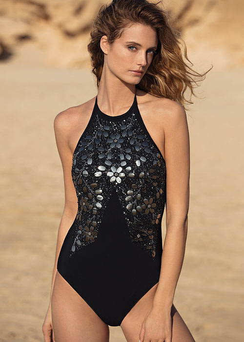 Gottex Couture Mirrored Elegance High Neck Swimsuit