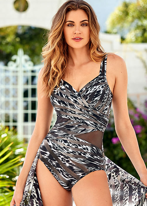 Animal-printed wrapped Miraclesuit swimsuit