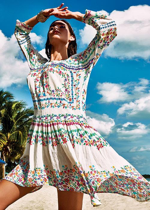Folk-inspired floral summer dress