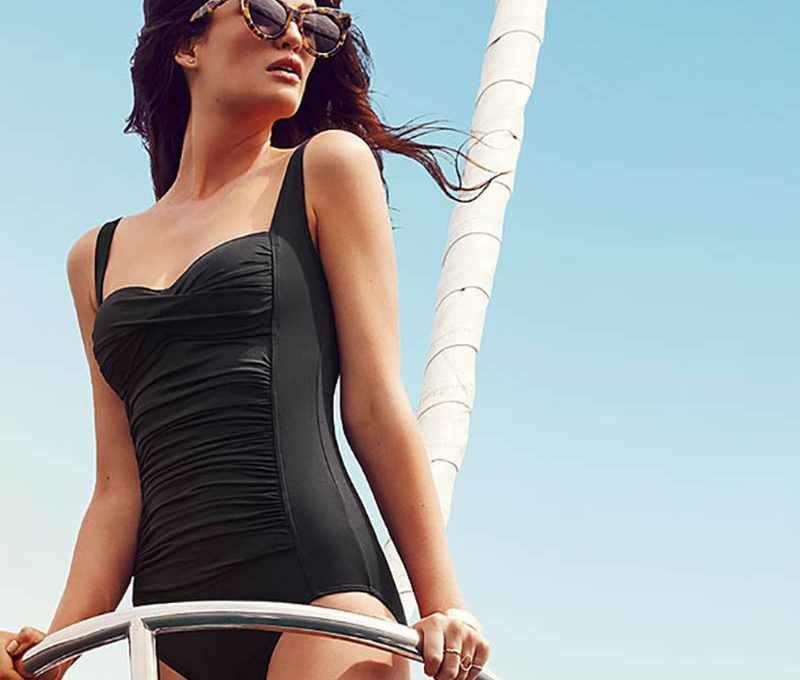 Moontide Sailing-inspired black swimsuit