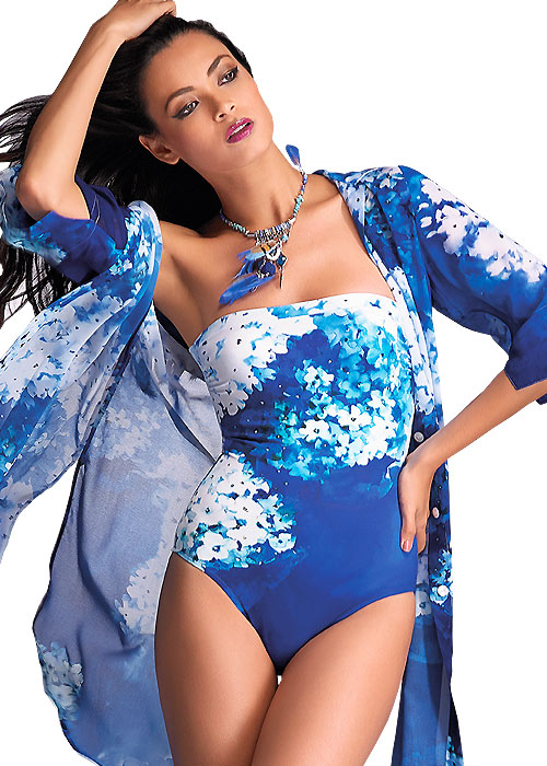Roidal Blue Flower Blouse over swimsuit