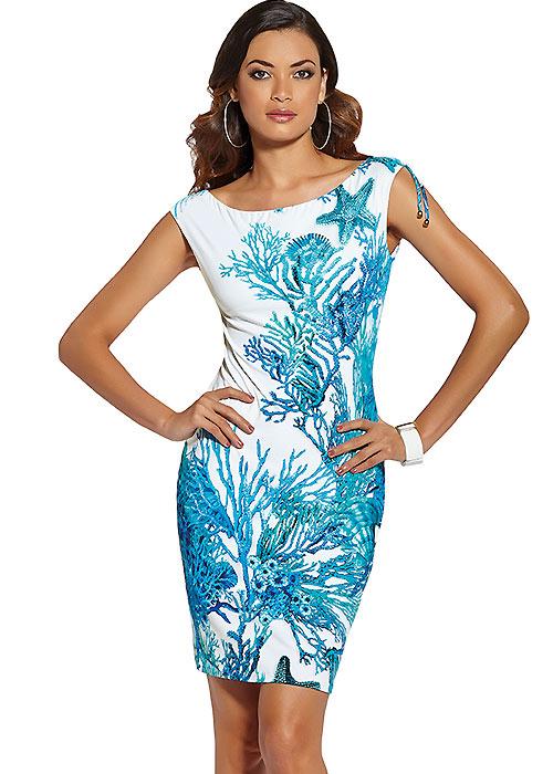 Roidal Coral Blue Sleeveless Sun Dress