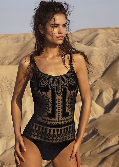 Gottex laser cut velvet swimsuit