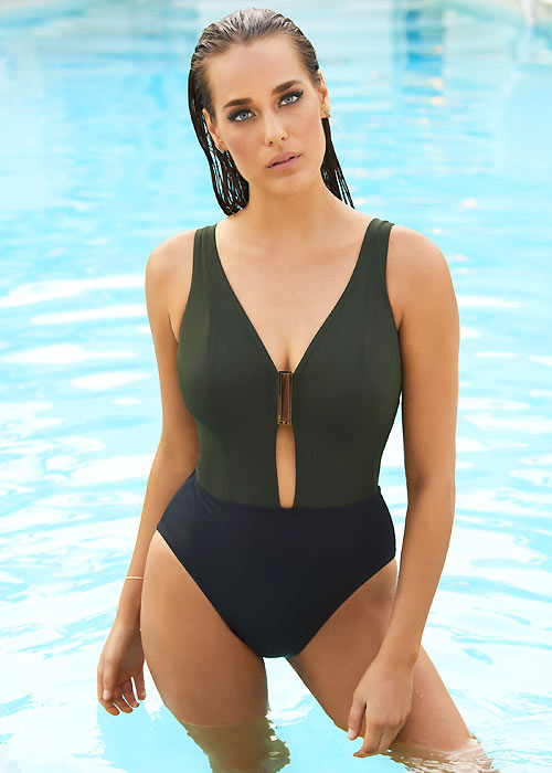 Amoressa lovely plunge dark green swimsuit