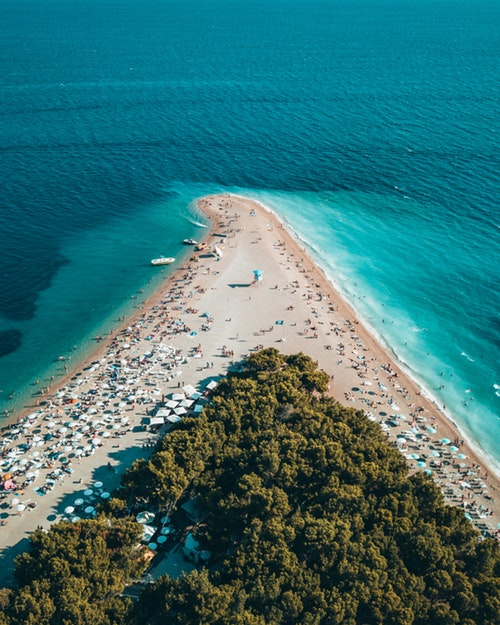 Croatian beach with turquoise waters