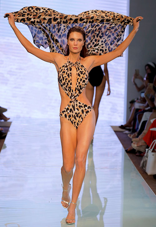 Gottex 2020 animal printed swimsuit with matching pareo, featured Miami Swim Week